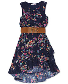 Speechless Big Girls Belted Floral-Print Boho Dress