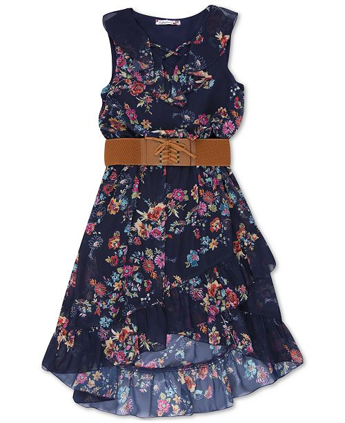 Speechless Big Girls Belted Floral-Print Boho Dress