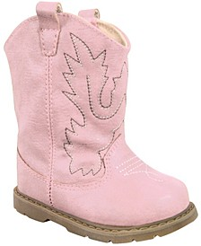 Baby Girl Western Boot Round Toe with Embroidery and Piping