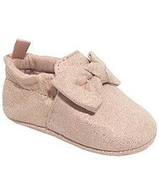 Baby Girl Shimmer PU Stroller Slipper with Bow Overlay