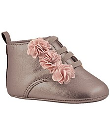Baby Girl PU Hi-Top with Blush Flowers Ankle Bootie
