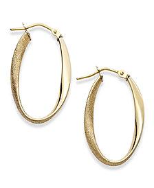 Italian Gold Polished & Textured Oval Twist Hoop Earrings in 14k Gold