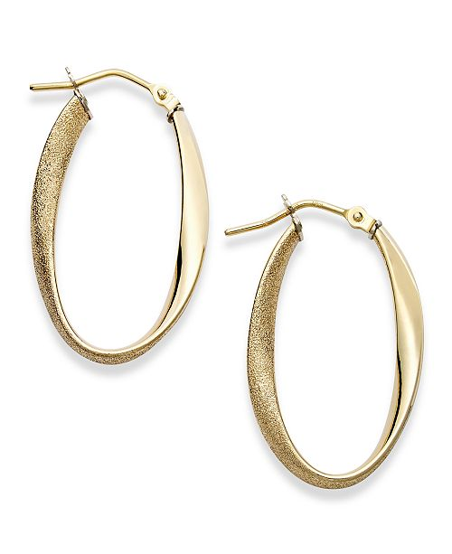 Italian Gold Polished & Textured Oval Twist Hoop Earrings in 14k Gold