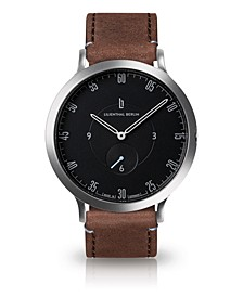 L1 Standard Black Dial Silver Case Leather Watch 42mm