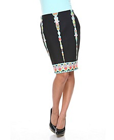 Pretty and Proper Multi-Colored Pattern Pencil Skirt