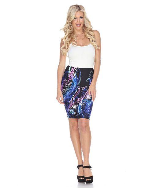 White Mark Pretty and Proper Print Pencil Skirt
