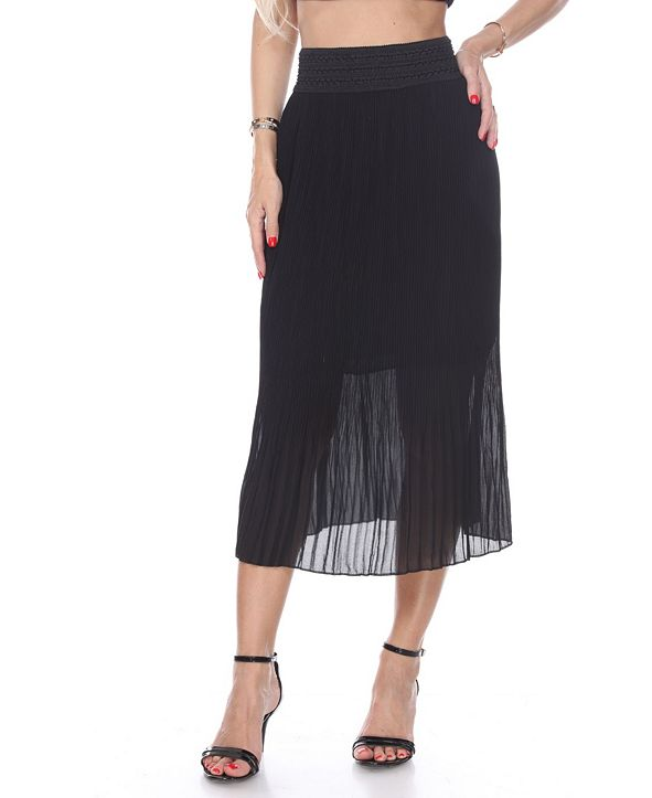 White Mark Pleated Midi Skirt