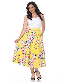 White Mark Plus Floral Print Tasmin Flare Midi Skirts