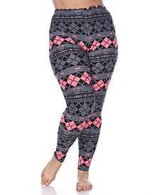 Plus Size Argyle Print Leggings