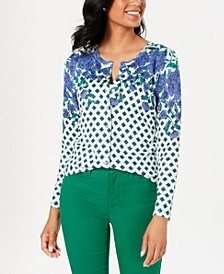Floral Print Sparkle Cardigan, Created for Macy's