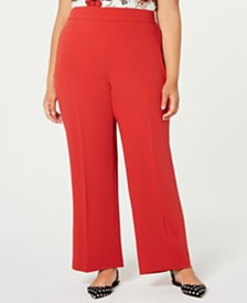 Bar III Trendy Plus Size Flare-Bottom Pants, Created for Macy's