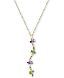 "Cubic Zirconia 26"" Pendant Necklace in 18k Gold-Plated Sterling Silver"