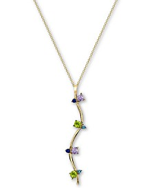 "Argento Vivo Cubic Zirconia 26"" Pendant Necklace in 18k Gold-Plated Sterling Silver"