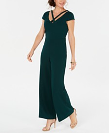 Connected Petite Crisscross Wide-Leg Jumpsuit