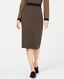 Weekend Max Mara Zebio Printed Sweater-Knit Skirt