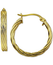 Giani Bernini Texture Hoop Earrings in 18k Gold-Plate Over Sterling Silver, Created for Macy's