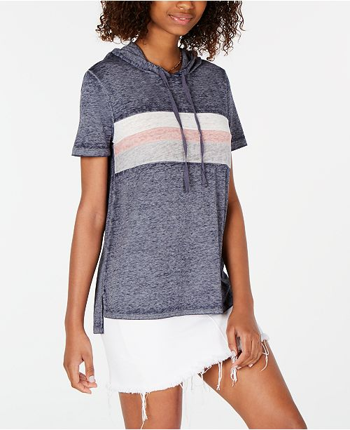 Hippie Rose Juniors' Colorblock Stripe Short-Sleeved Hoodie