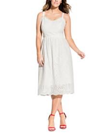 City Chic Trendy Plus Size Eyelet A-Line Dress
