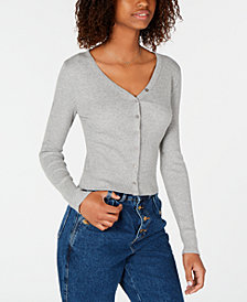 Planet Gold Juniors' Rib-Knit Button-Front Top