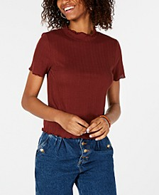 Juniors' Mock-Turtleneck Eyelet Top