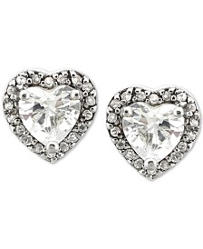 Giani Bernini Cubic Zirconia Heart Stud Earrings in Sterling Silver, Created for Macy's