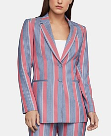 Striped Single-Breasted Blazer