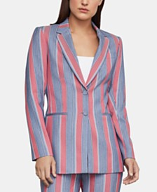 BCBGMAXAZRIA Striped Single-Breasted Blazer