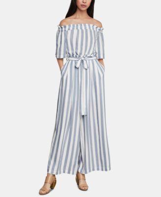 BCBGMAXAZRIA Womens Off The Shoulder Linen Striped Jumpsuit