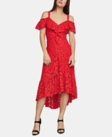 BCBGMAXAZRIA Cold-Shoulder Lace Dress