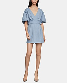 Puff-Sleeve Faux-Wrap Romper