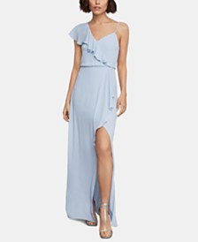 BCBGMAXAZRIA Ruffled One-Shoulder Gown