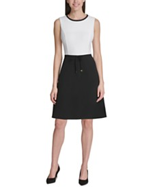 Tommy Hilfiger Tie-Waist Scuba Crepe Dress