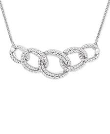 "Diamond Interlocking Link Statement Necklace (1/2 ct. t.w.) in Sterling Silver, 18"" + 1"" extender"