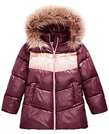 Big Girls Fur Trim Hooded Colorblocked Puffer Jacket