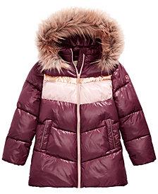 Michael Michael Kors Little Girls Faux-Fur-Trim Hooded Colorblocked Puffer Jacket