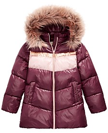 Michael Michael Kors Big Girls Fur Trim Hooded Colorblocked Puffer Jacket