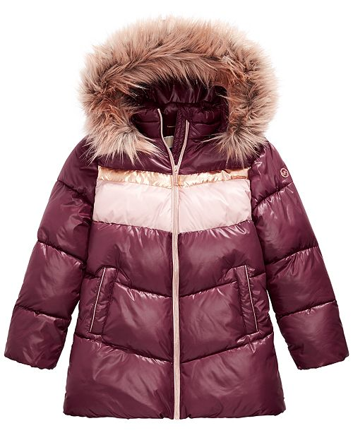 Michael Kors Toddler Girls Faux-Fur-Trim Hooded Colorblocked Puffer Jacket