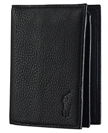 Men's Wallet, Pebbled Bifold Wallet with Window