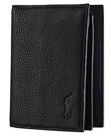 Polo Ralph Lauren Men's Wallet, Pebbled Bifold Wallet with Window