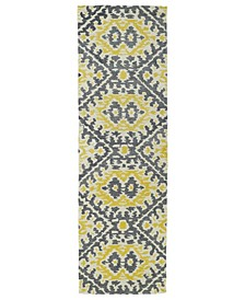 "Global Inspirations GLB01-28 Yellow 2'6"" x 8' Runner Rug"