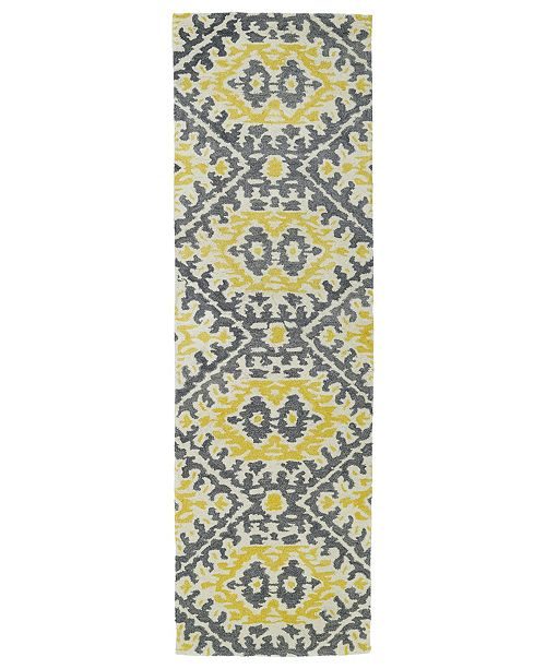 "Kaleen Global Inspirations GLB01-28 Yellow 2'6"" x 8' Runner Rug"