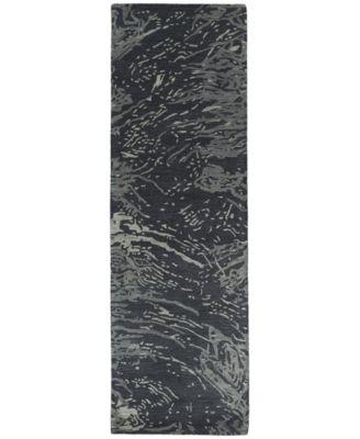 """Brushstrokes BRS01-38 Charcoal 2'6"""" x 8' Runner Rug"""