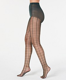 INC Green Windowpane Tights, Created for Macy's