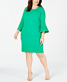 Trendy Plus Size Bell-Sleeve Sheath Dress