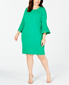 Love Squared Trendy Plus Size Bell-Sleeve Sheath Dress