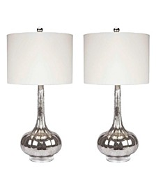 Ara Antiqued Glass Table Lamp, Set of 2