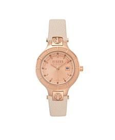 Versus Versace Women's Claremont Beige Leather Strap Watch 32MM