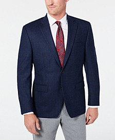 Men's Classic-Fit UltraFlex Stretch Navy Plaid Windowpane Sport Coat