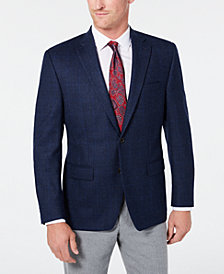 Lauren Ralph Lauren Men's Classic-Fit UltraFlex Stretch Navy Plaid Windowpane Sport Coat