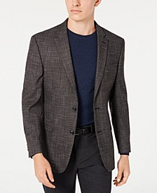 Men's Modern-Fit THFlex Stretch Wine/Black Check Sport Coat